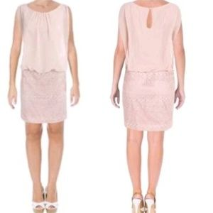 Aidan Mattox Pink Blouson Lace Dress